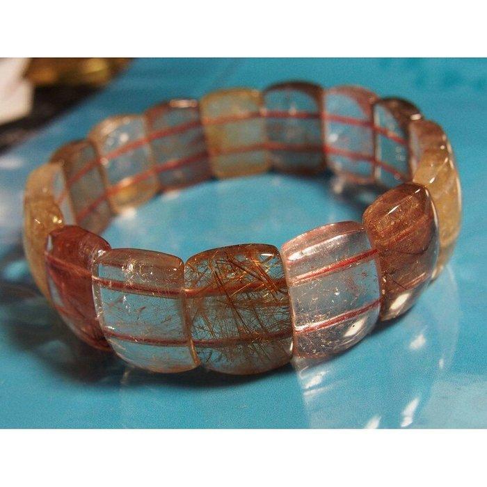 【全新】鈦金 x 紅髮絲清透水料板珠18mm(49g)
