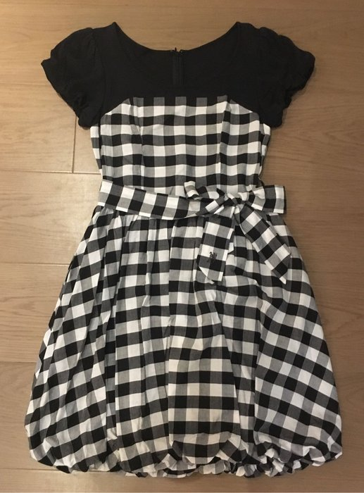 日本 Burberry藍標 黑白格洋裝