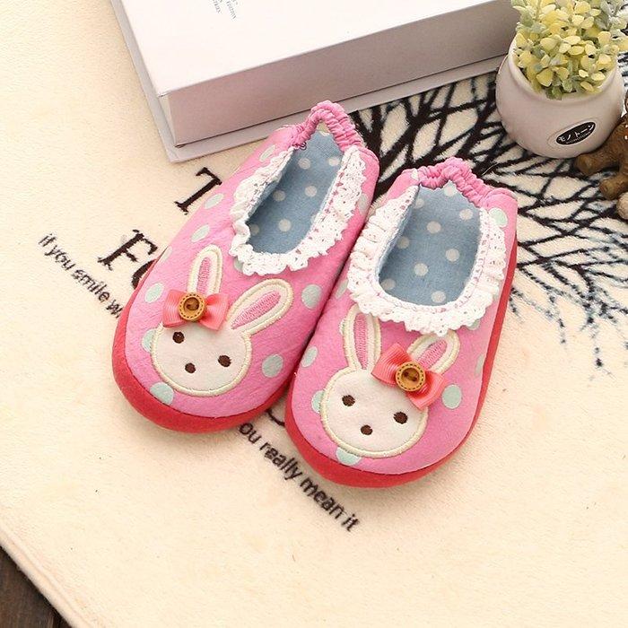 ☆草莓花園☆A121韓國粉色小兔  家居鞋 兒童棉鞋 室內拖鞋 嬰兒保暖鞋