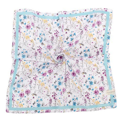 【姊只賣真貨】LAURA ASHLEY 英國繽紛花卉圖騰純棉帕領巾手帕(粉紅、粉紫、水藍)