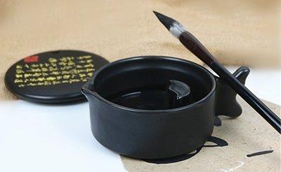 宇陞精品-黑金色釉帶蓋墨池/筆擱/筆架/墨碟-直徑10.5cm*高5cm