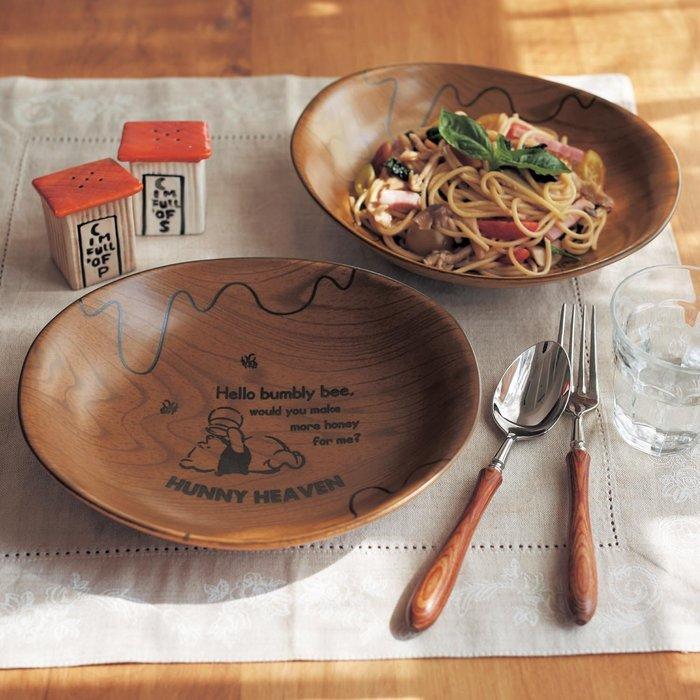 迪士尼Disney《預購》小熊維尼 木質調陶瓷餐盤 義大利麵盤 咖哩盤 大盤子2入一組~日本製~心心小舖
