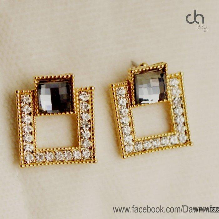 正韓低調奢華灰寶石滿鑽方塊大耳環‧925銀針抗過敏飾品‧米絲小姐玩時尚