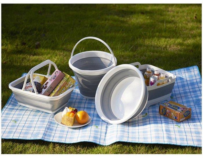多功能塑料 折疊手提籃 收納籃 居家 野餐 露營收納提籃 提菜籃 可放衣物零食 浴室收納籃