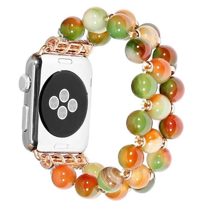 蘋果apple watch4彩晶孔雀石串珠手飾表帶iwatch3代瑪瑙手鏈表帶手錶配件 錶帶 鋼帶 帆布 皮質