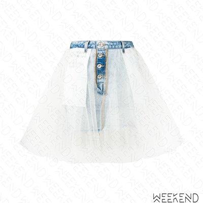 【WEEKEND】 UNRAVEL 拼接 異材質 牛仔 短裙 紗裙 白色 19春夏