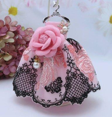 檸檬手作飾品  黑色網紋山茶花小禮服手作鑰匙圈/包包吊飾