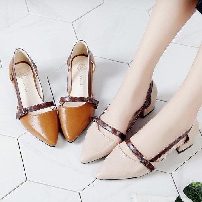 涼鞋2018新款女夏季chic包頭仙女晚晚溫柔粗跟中跟平底復古女鞋子