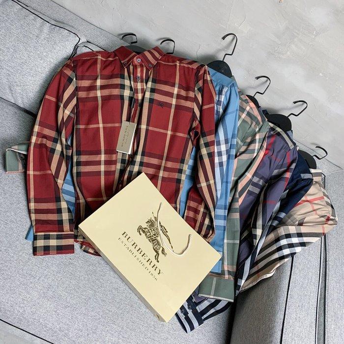 Chris精品代購 美國Outlet Burberry巴寶莉 春夏新款 長袖 襯衫 休閒經典格紋 戰馬Logo 六色任選