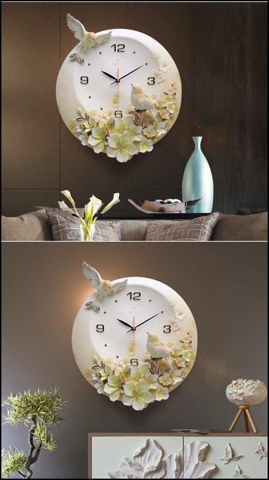 波麗浮雕時鐘 白色立體花卉鳥語花香圓形石英鐘造型鐘靜音時鐘掛鐘壁鐘圓鐘壁飾牆面居家裝飾佈置品歐式古典風格【歐舍家飾】