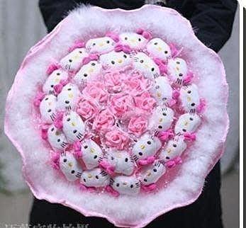 【易發生活館】24只KT貓卡通花束公仔花 創意個性可愛hello kitty凱蒂貓咪毛絨娃娃