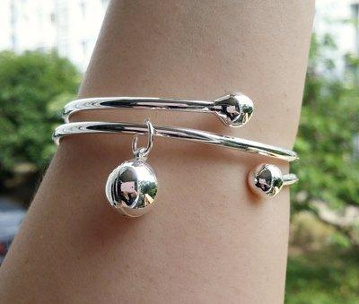 嗨,寶貝銀飾珠寶* 925純銀☆999純銀 時尚 螺旋造形掛鈴鐺(不響) 實心 開口純銀手環 手鐲  可調節