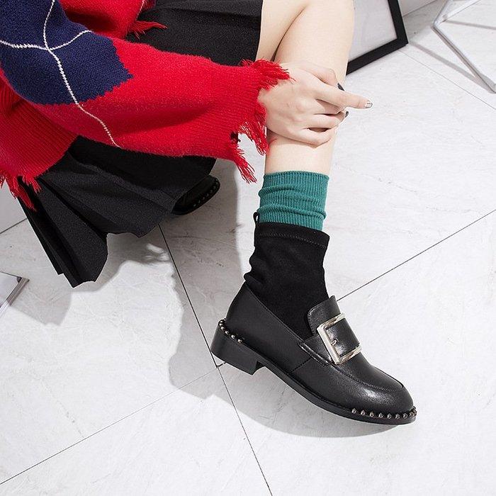 【高質感】時裝靴襪子靴女秋冬新款時尚女鞋短靴圓頭中跟套筒鉚釘馬丁靴百搭英倫風休閒