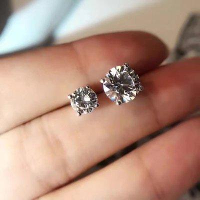 2克拉18K白金4爪耳釘(莫桑石 摩星鑽 非鑽石)