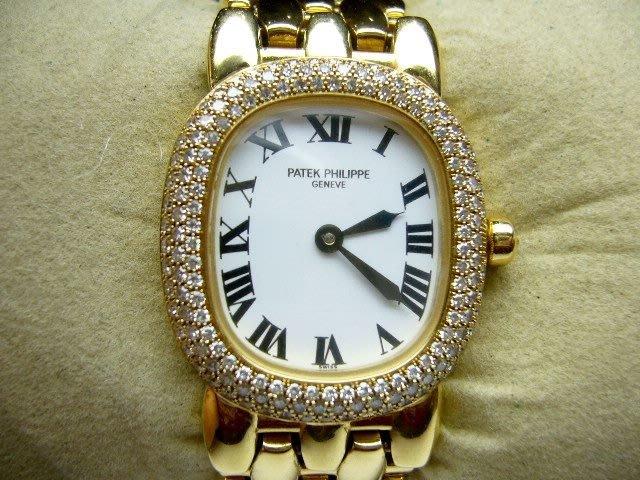 [吉宏精品交流中心]Patek Philippe 百達翡麗 PP 18黃K金 原鑲鑽石 石英 女錶