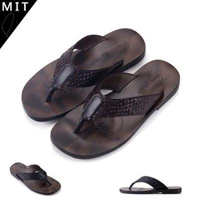 男款 嚴選MIT製造 真皮舒適柔軟透氣 人字夾腳拖鞋 Ovan