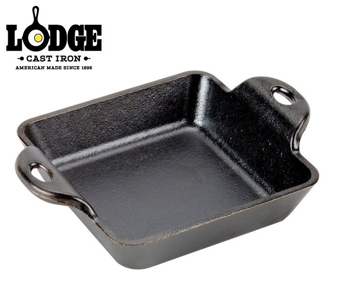 丹大戶外【LODGE】Square Mini 10oz迷你荷蘭鑄鐵平底方形焗烤盤 HMSS