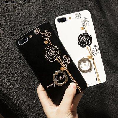 Little-luck~蘋果iphone6手機殼帶指環8全包防摔黑白花個性7plus歐美大氣女款