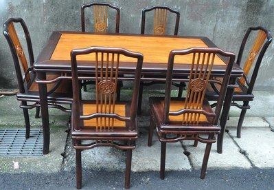 酸枝 / 紫檀 ~ 餐桌+6椅 ~ 明式風格..售65000元 (非柚木.櫸木.雞翅.花梨.榆木.紅木)
