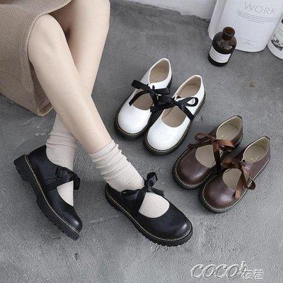 娃娃鞋 日繫學院風圓頭娃娃鞋可愛絲帶少女鞋