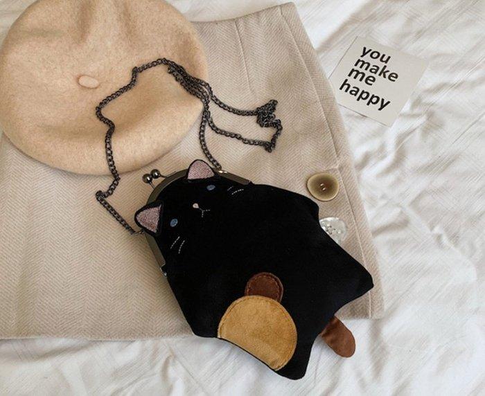 ☆歐拉雜貨屋☆日雜風小貓咪拼布鍊條珠扣包口金包肩背包包女包禮物 另有韓妞必備後背包水桶包托特包帆布包方包流蘇包編織包