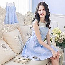 【木風小舖】轉賣Yoco.蕾絲織花傘襬洋裝*藍S號