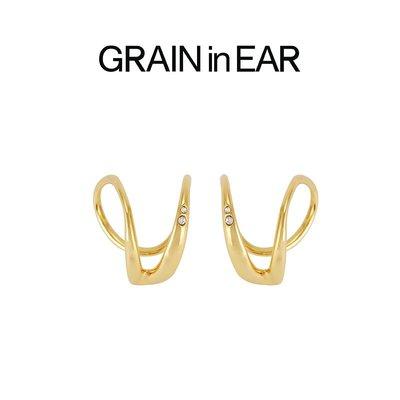 SC STORE~GRAIN in EAR 法式優雅 立體線條鋯石 耳夾 ins博主力薦