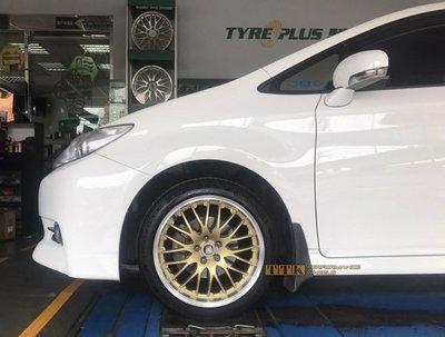 【小茵輪胎舘】TTK精品輪圈 新款 《TTK-205》17吋 5孔112 8J ET35/42 金色車邊客製款