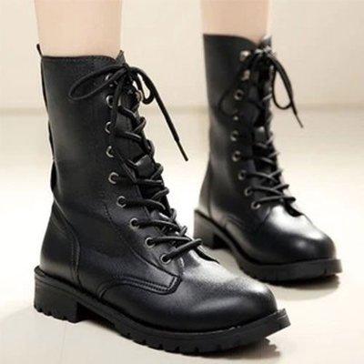 【Q比花園】C個性英倫騎士款馬丁靴機車靴 有大碼