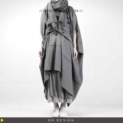 ►DR.DESIGN│DR2753-暗黑設計師 Yohji山本耀司風 棉麻 岩石麻灰 廓型 斗篷狀 造型 竹節 長洋裝