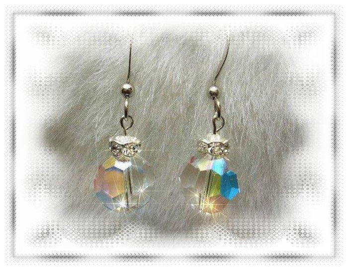 ※水晶玫瑰※ SWAROVSKI 10mm水晶珠 耳勾式耳環(DD325)~出清~三對免郵