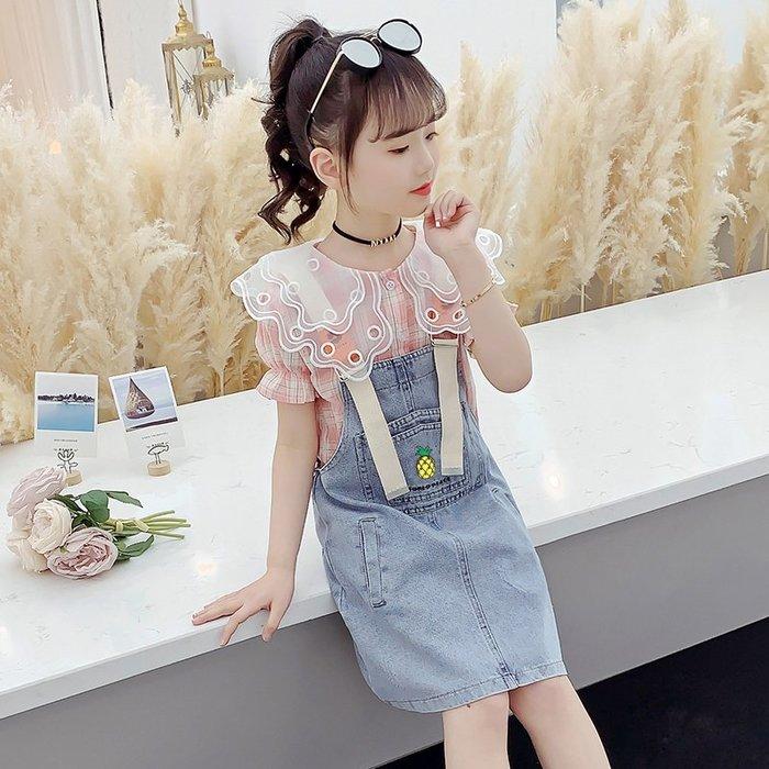 •*~ 辣媽咪衣飾小舖 ~*•❤童裝系列❤K980477韓版大童夏款甜美可愛洋氣翻領短袖上衣+吊帶裙二件套