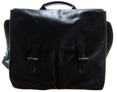 二手很新可搭黃靴雷根鞋【千里之行】TIMBERLAND黑色牛皮革真皮書包公事包棉質寬背帶-古著商品