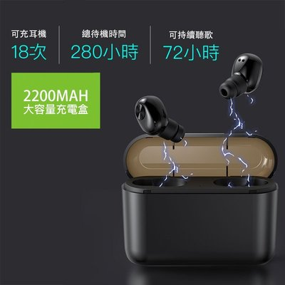藍芽5.0/雙耳通話 雙耳超迷你無線藍芽耳機防汗水 附充電盒 重低音好音質「RA063」