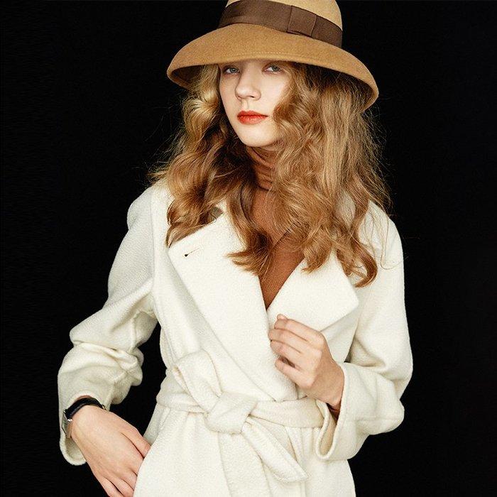 頂級奢華♥大衣☆尖貨純羊絨水波紋 重磅手工雙面呢純白奢華大衣