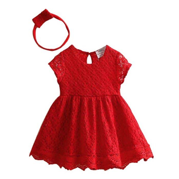 Audrey X Baby // 超美大紅簍空蕾絲花洋裝 女童