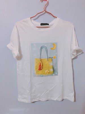 包包造型t恤 上衣 全新 白
