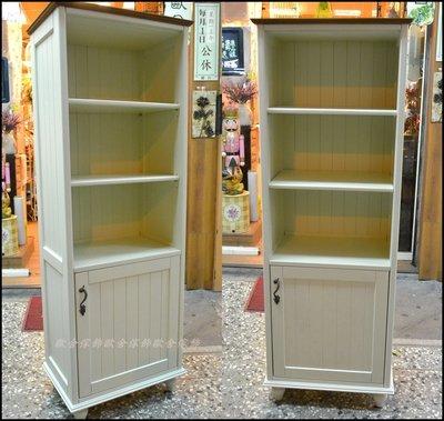 實木白色雙色二尺單門開放式書櫃餐櫃 原...