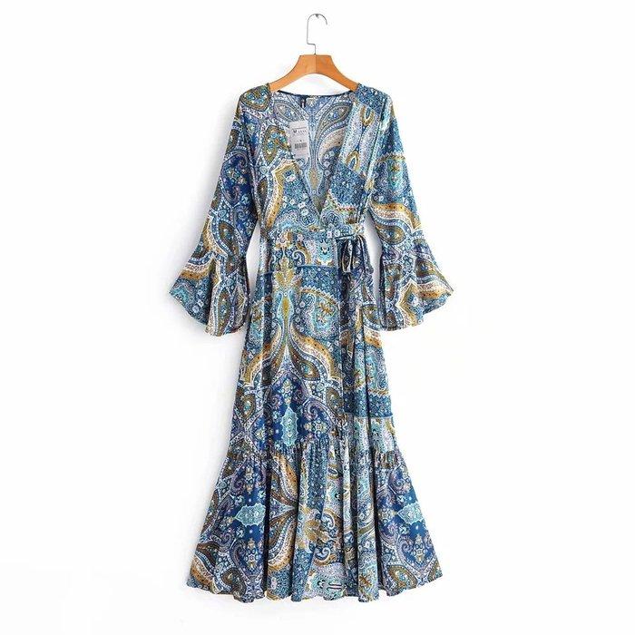 🔥🔥波西米亞民族風圖騰柔軟棉一片式裹身綁帶喇叭袖飄逸大裙襬連身長洋裝
