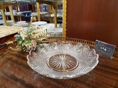 【卡卡頌 歐洲跳蚤市場/歐洲古董】※活動特價※法國老件_老玻璃雕刻  幾何圖形 水果盤 點心盤 擺飾 收藏g0489✬
