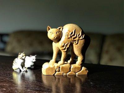 憤怒貓木雕 台灣檜木 手工彫刻 模型 擺飾