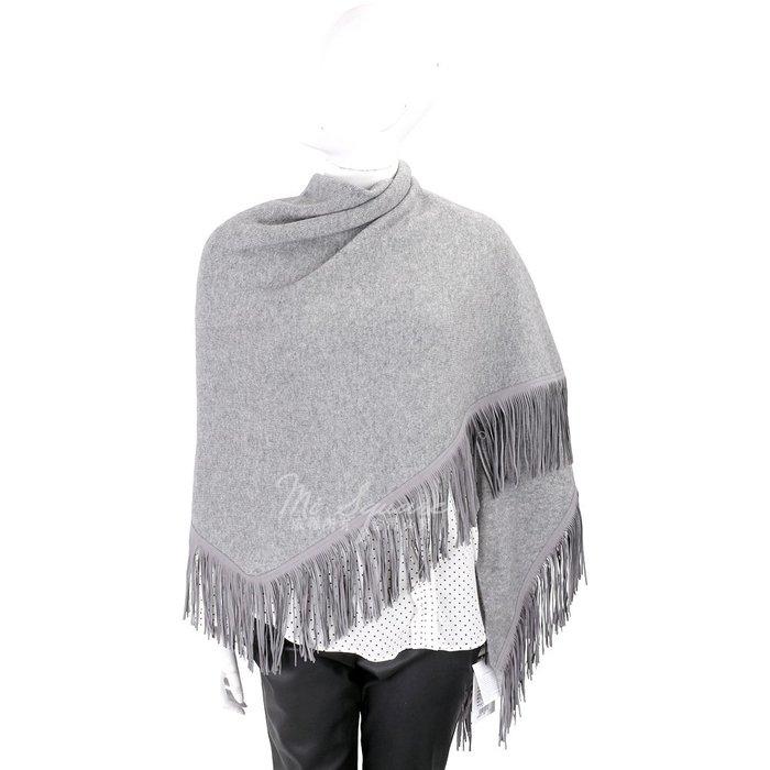 米蘭廣場 ALLUDE 喀什米爾羊毛灰色麂皮流蘇圍巾/披肩 1810575-06