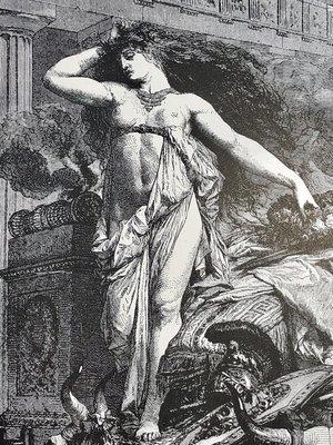 百年凹版印刷品 — 葬禮堆上的 狄多(Dido On the Funeral Pyre)129年歷史