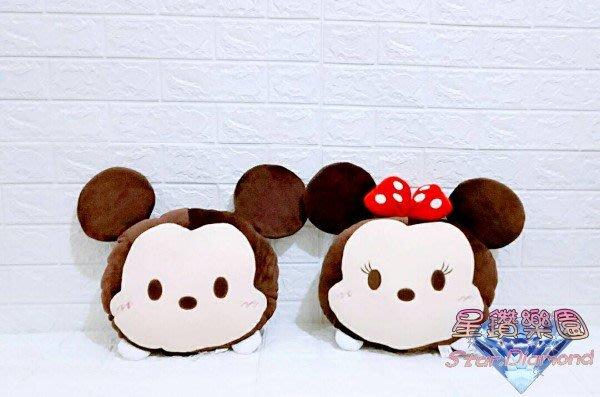 「正版授權」迪士尼 TSUM頭型「米奇」「米妮」絨毛玩偶 尺寸:約長41cmX寬36cm *星鑽樂園*