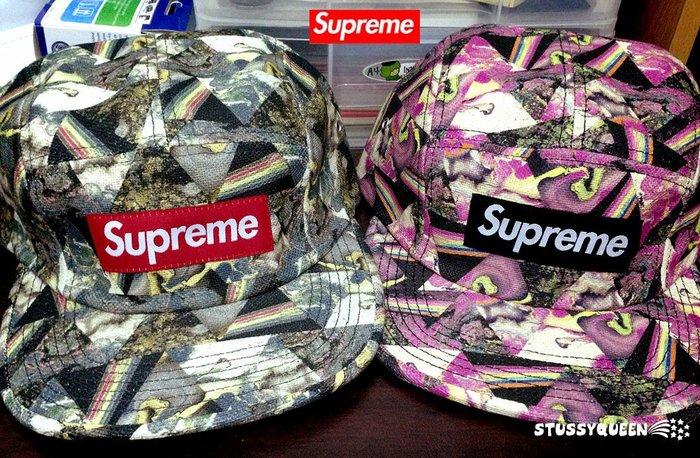 【超搶手】全新正品 2013 AW 最新 現貨 Supreme Liberty Thorgerson Camp Cap 五分割帽 滿版 黑色 粉紅