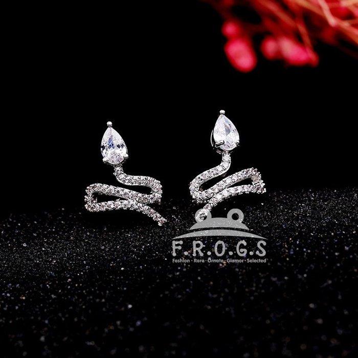 F.R.O.G.S A09090歐美日韓INS款簡約白銅S蛇型鋯石造型C型夾夾式耳環耳骨夾耳鉤耳夾耳釦(現+預)