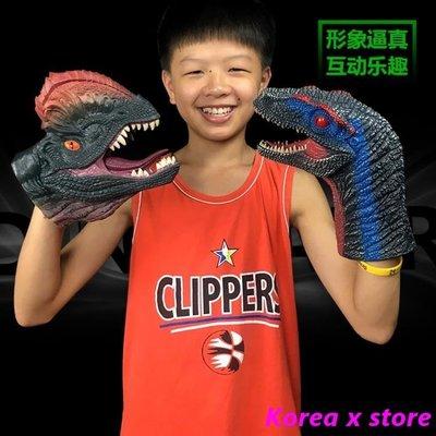 【K x S】動物模型 侏羅紀世界霸王龍恐龍手偶手套動物頭玩具軟膠塑膠兒童玩具恐龍