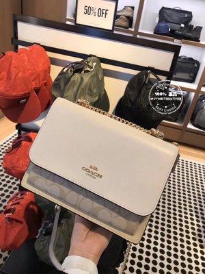 折扣款 全新正品 COACH KLARE CROSSBODY 90635 卡其色老花 鏈條包 流浪包 雙層風琴包