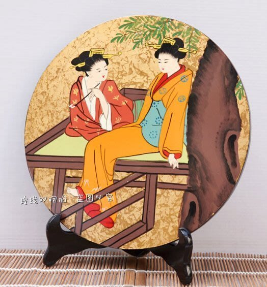 【易發生活館】新品出口日本手工漆畫 料理餐廳裝飾浮世女圓形臺板擺件人形人偶多款居家擺設擺件