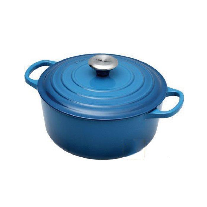 法國 LE CREUSET 鑄鐵鍋 LC鍋 24cm 馬賽藍